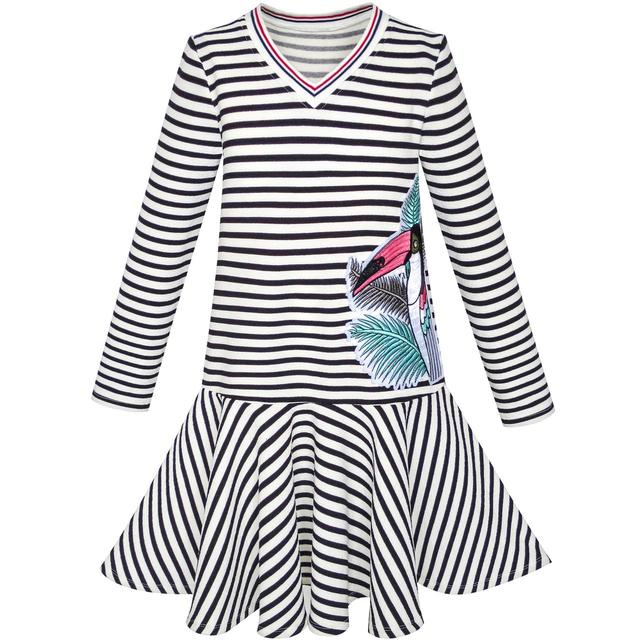 3f73dfe5e2e2 Girls Dress Stripe Long Sleeve Parrot School Uniform Jumper 2018 Summer  Princess Wedding Party Dresses Kids Clothes Size 6-12