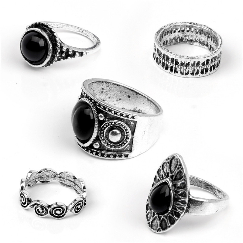 ROMAD 5 Pcs/ Set Black Gold Crystal Ring Set for Fingers Women Water Drop Bohemian Rings Lady Charms Jewelry anello uomo R4