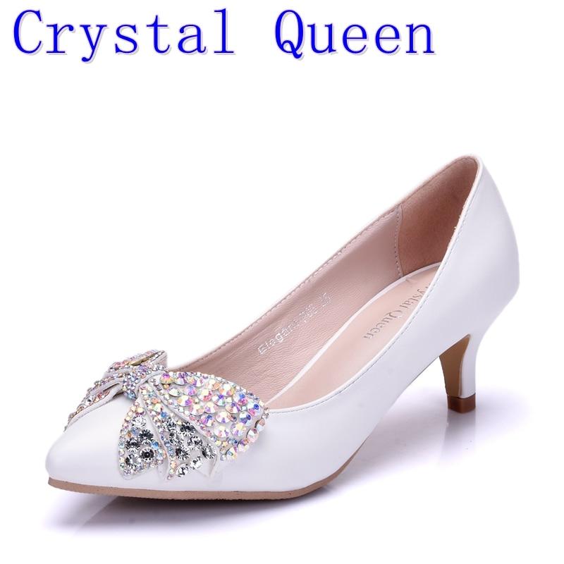 Cm Imitazione sexy rosa Diamanti da alti sposa donna da New Nodo Farfalla Tacco Scarpe Crystal Fashion 5 Queen Bianco Tacchi scarpe Tie qABpfaIw