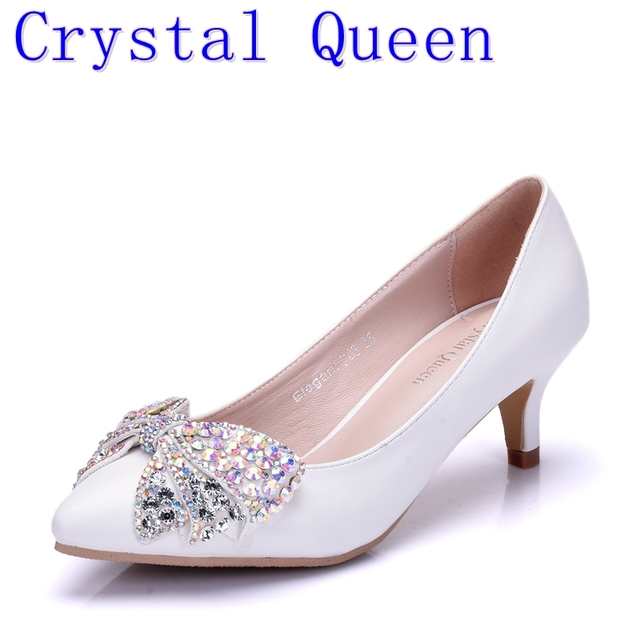 Crystal Queen New Fashion 5CM High Heels Women Pumps Heel Sexy Wedding  Shoes Rhinestone Bow Butterfly 7cb0c871bd42