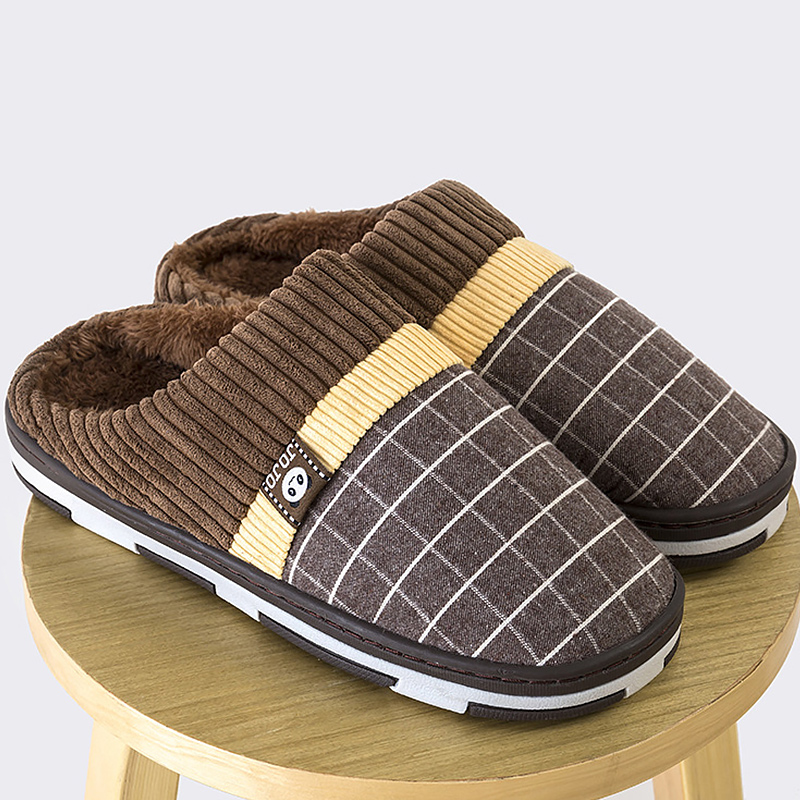 Image 2 - 2019 New warm men's slippers short plush flock home slippers for men hard wearing non slip sewing soft male shoes-in Slippers from Shoes
