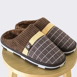 Image 2 - ชายรองเท้าแตะ2020 Warm Plush Flockชายรองเท้าแตะสำหรับHomeสวมใส่ลื่นเย็บยางนุ่มบ้านในร่มรองเท้า