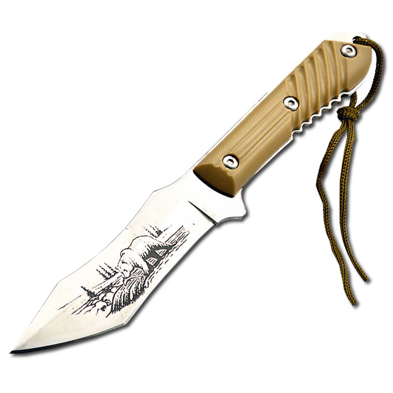 Mengoing White Bear Tactical Hunting Fixed Blade Knife 5Cr15 Steel Blade ABS Plastic Handle Camping knife Tool Nylon Sheath king double krn a5t 5 zirconia ceramic utility knife w sheath red white