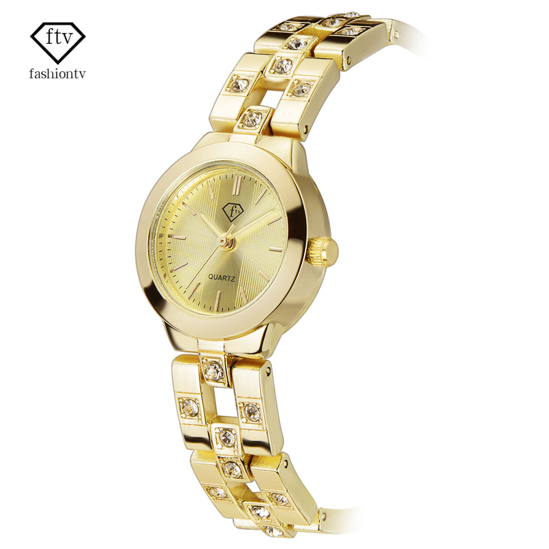 FTV Fashion Brand Watch Women Gold Crystal Diamond Bracelet Women Watches 2017 New Montre Femme Casual Silver Relogio Feminino