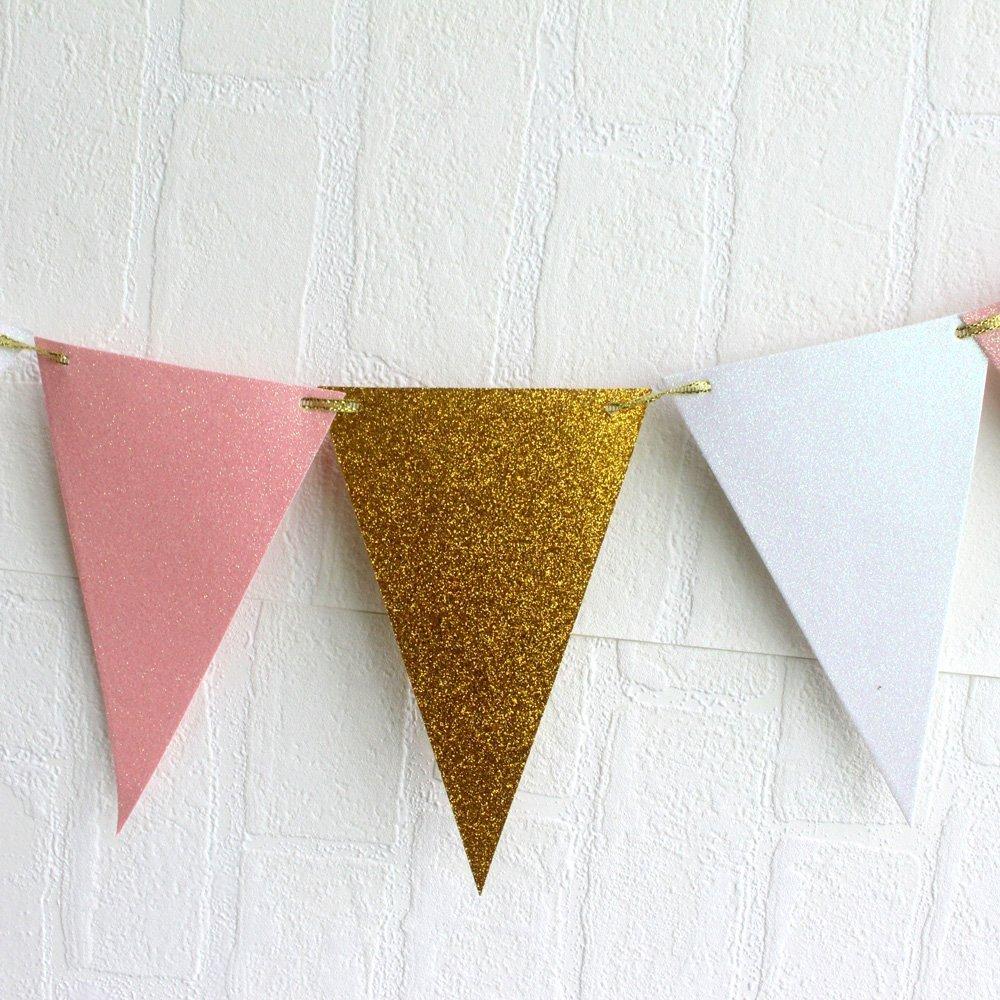 Pink Gold White Theme Wedding Decoration Set,Triangle Glitter Banner ...