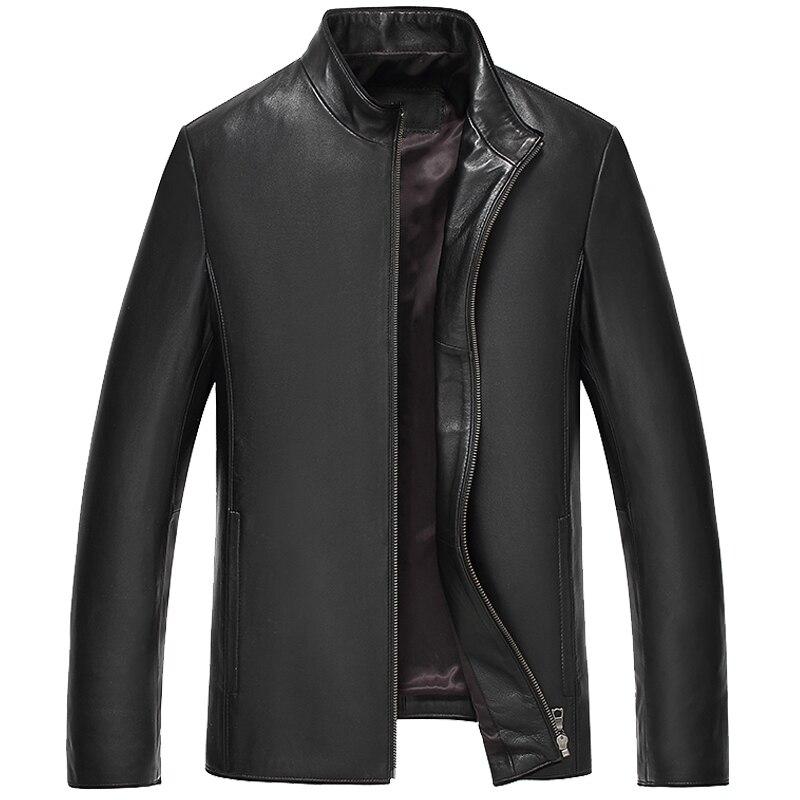 Nouveau Style Classique Hommes de Cuir Véritable Vestes Réel en peau de Mouton Jaqueta De Couro Mâle Noir Véritable Veste En Cuir Pour Hommes 7101