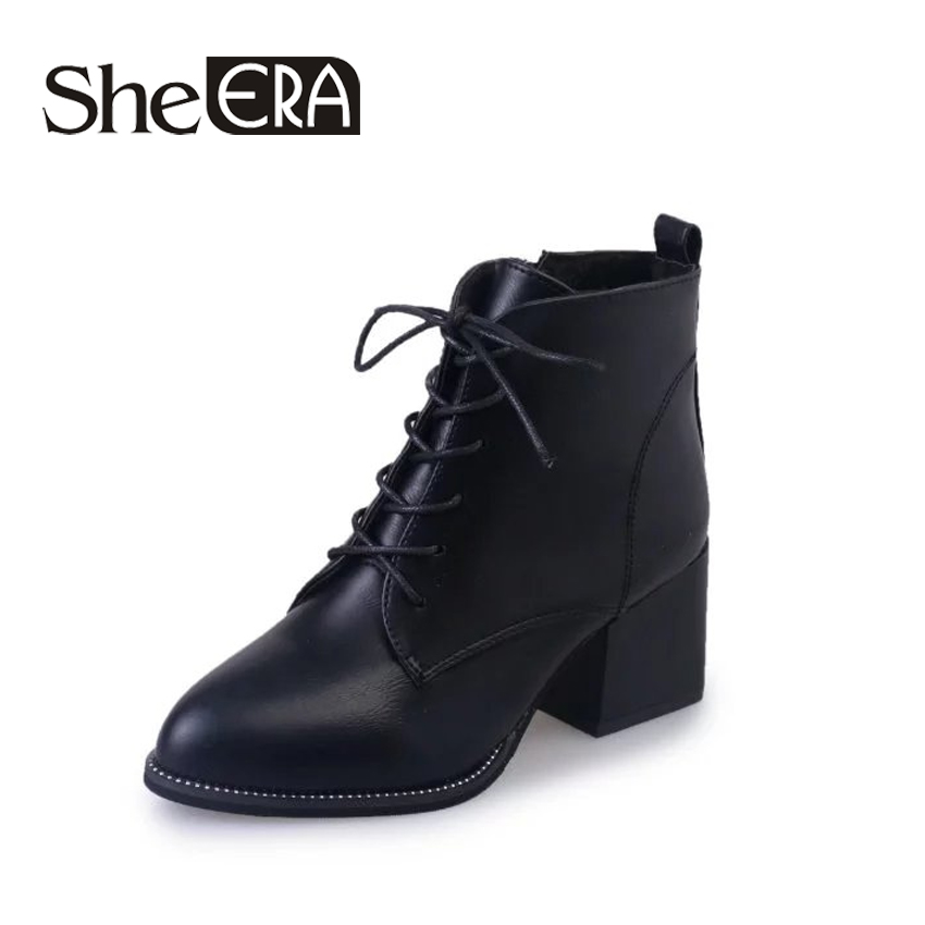 Women Boots 6.5cm Square Heel Autumn Winter Ankle Boots Paint Leather Boots Fashion Lace up Motorcycle Boots Women Shoes