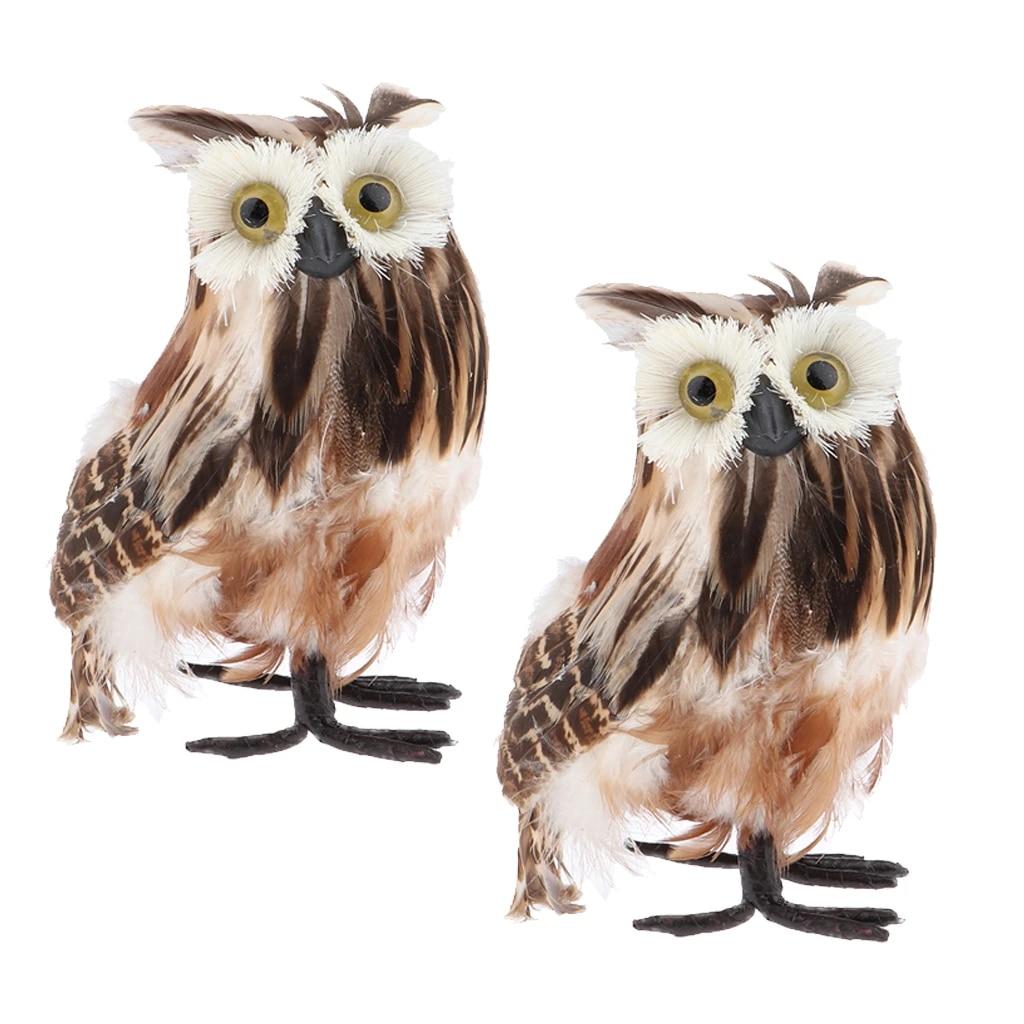 Mini Fake Artificial Bird Owl Fur Realistic Imitation Taxidermy Home Decor 10cm