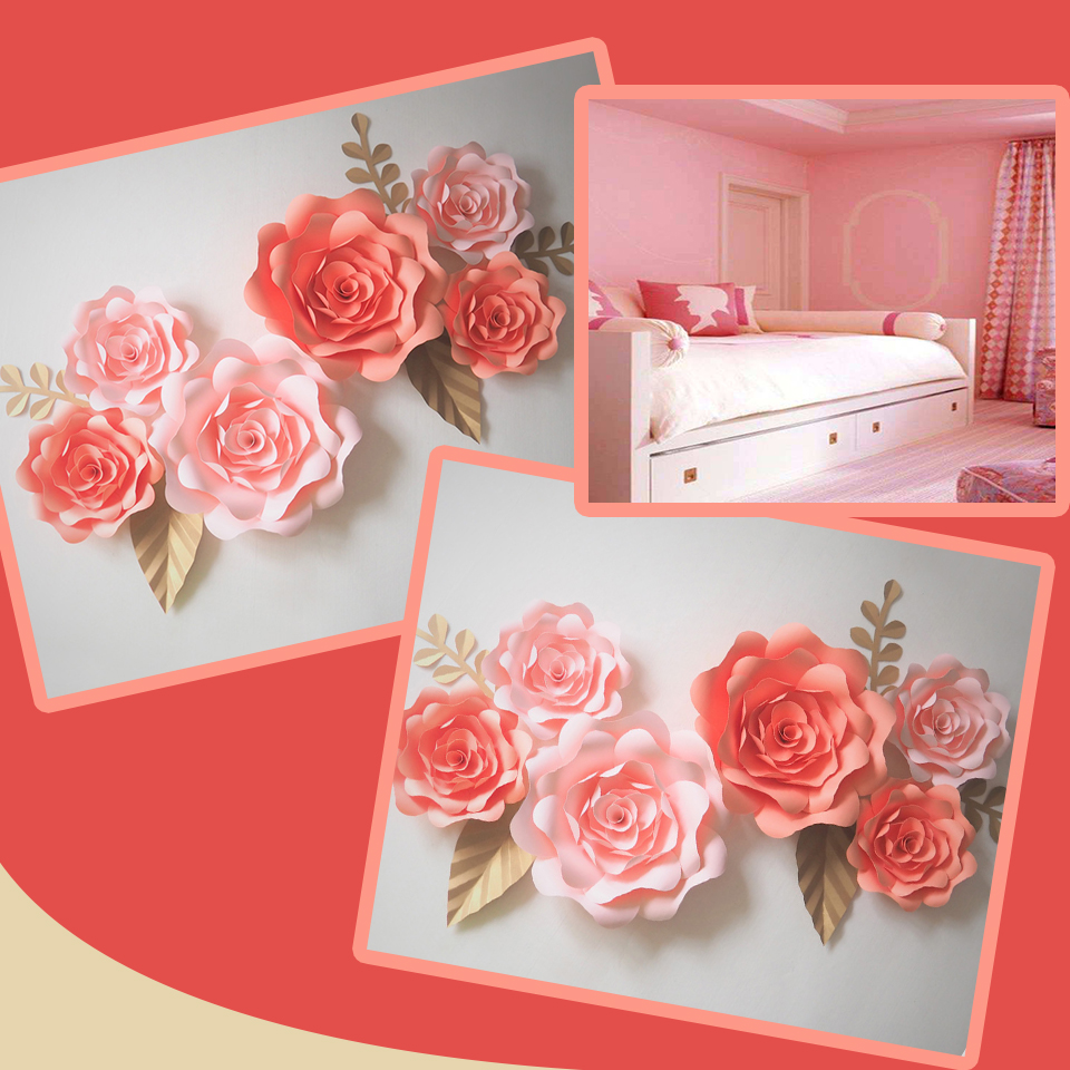 Us 38 4 39 Off Diy Giant Paper Flowers Backdrop Artificial Handmade Mix Flower 6pcs Leaves 5pcs Wedding Party Deco Home Decoration Video In Party