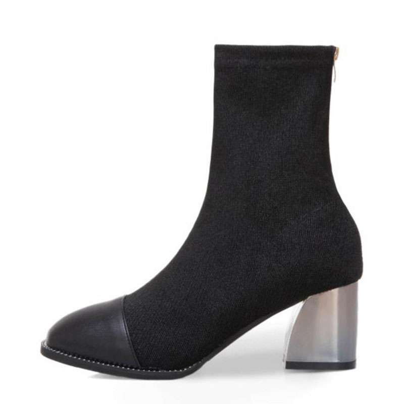 Vulusvalas Piel Black Fur Mediados Zapatos Invierno De Mujeres Tamaño Moda black Mujer 39 Cálido Las Fur Botas 35 Tacón black Cloth Grueso Alto Ternero Ur6qUnWx