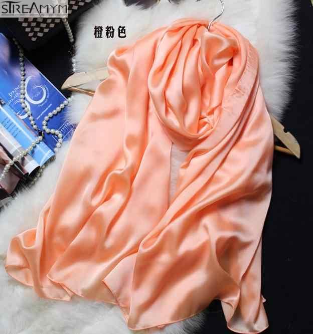 2018New весна осень женские роскошные брендовые шарфы сплошной цвет шелковый шарф размера плюс 180 см * 90 см шелковый платок хиджаб шарф 15 цветов