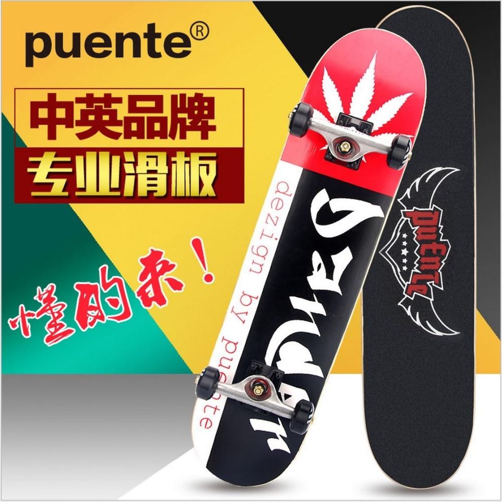 Planche à roulettes d'érable canadien de qualité spéciale de livraison gratuite 79mm x 20mm Graffiti LongBoard Double Rocker Monopatin patin de rue - 3