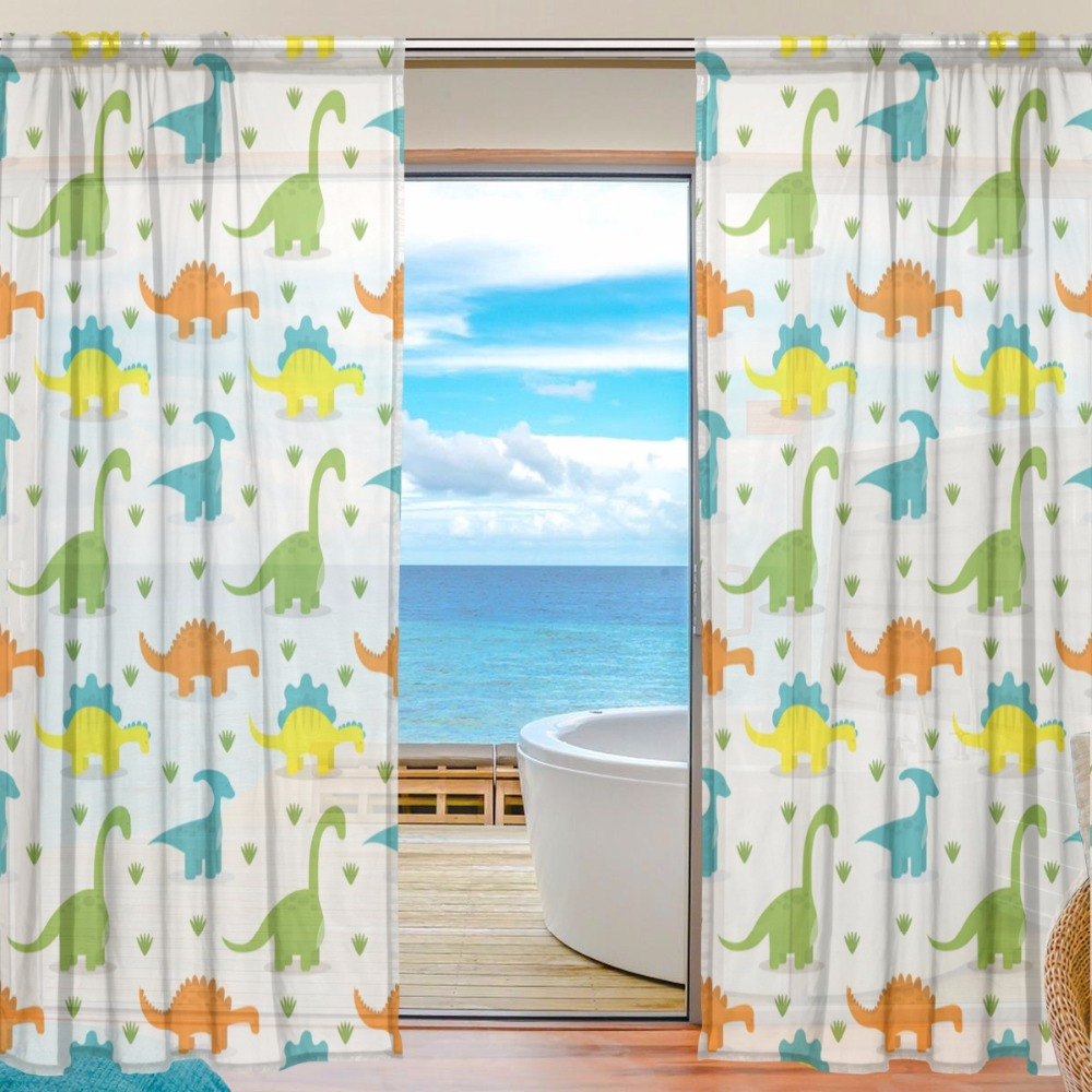 Sheer Door Curtain Panels W55x L78 Inch/55x L84 Inch,Cute Colorful ...