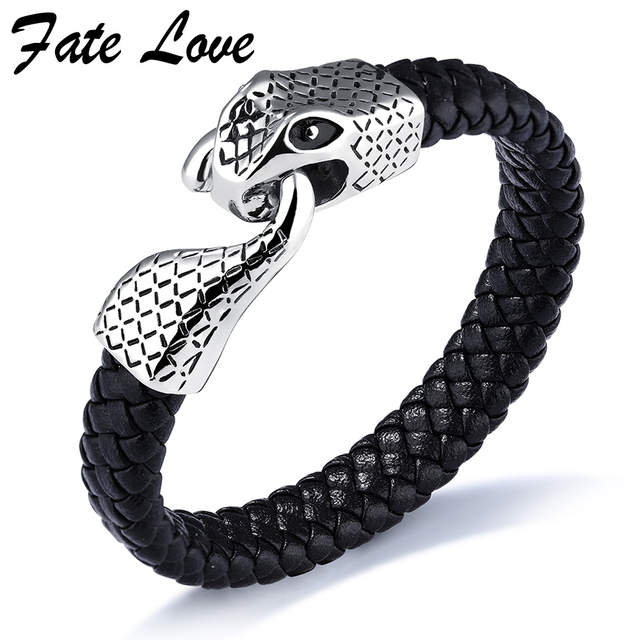 2020 oficial mejor calificado bajo precio 2Pcs Hipster Hip Hop Jewelry Mens Leather Bracelets 2017 Fashion Stainless  Steel Snake Clasp Cool Men Bracelet Pulseras Hombre