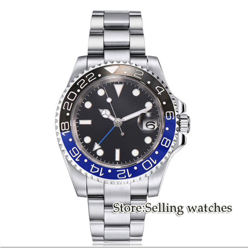 40mm PARNIS Black dial GMT Sapphire Date Automatic movement Watch men's watch 40mm parnis white dial vintage automatic movement mens watch p25