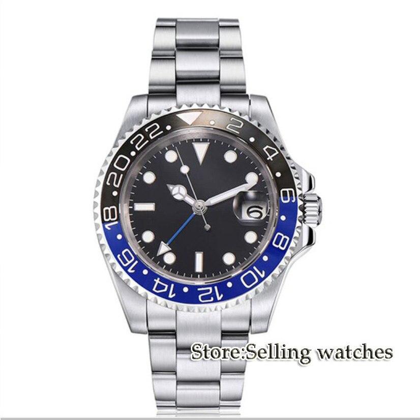 40mm PARNIS cadran Noir GMT Date de Saphir mouvement Automatique Montre hommes de montre