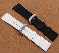 Nuevo Reemplazo de la Llegada Marca correa de reloj 28mm Impermeable Negro hombres De Goma Blanca reloj de la correa pulseras pin broche de despliegue