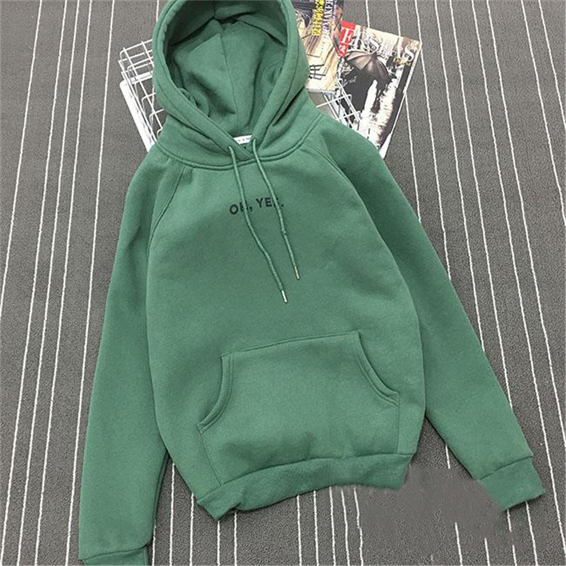 2019 Fsdhion Autumn Winter Fleece Oh Yes Letter Harajuku Print Pullover Thick Loose Women Hoodies Sweatshirts Female Casual Coat
