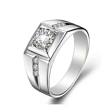 Created Fashion Male Ring Silver Color CZ Men Rings Wedding Engagement Crystal Jewelry Ring Aneis Anilos 2017 Newest