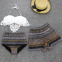 Summer Retro Sexy Bikini Swimwear Women 3 Pieces Swimsuit With Loose Shorts Hot Girls Beach Wear