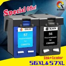 2pcs For HP 56 57 Ink Cartridge for HP56 xl 57 xl Deskjet 5150 450CI 5550 5650 7760 9650 PSC 1315 1350 2110 2210 2410 printer