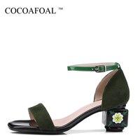 COCOAFOAL Для женщин босоножки на высоком каблуке Большой размер 34 43 зеленый босоножки из натуральной кожи пикантные туфли с открытым носком Ле