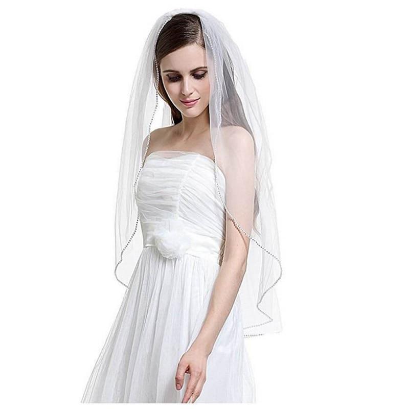 2018 Eleganta Korta bröllopslingor Ett lager 75cm Längd Med kam vit - Bröllopstillbehör - Foto 1