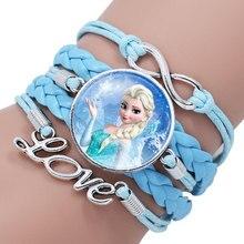 Новая мода Эльза Анна Принцесса портрет стекло кабошон кожаный браслет «бесконечность» для девочек женщин фильм аксессуары ювелирные изделия подарок