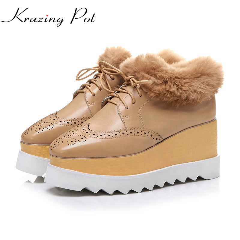 Krazing Pot new cow leather streetwear square toe high heels wedges winter boots rabbit fur keep warm increased oxford boots L14 krazing pot flannel stretch boots winter keep warm wedges high heels leisure long legs beauty fashion over the knee boots l31