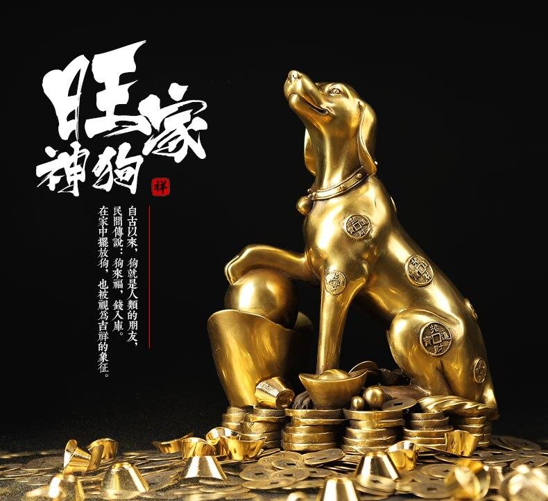 25 CM GRAND #2019 entreprise À DOMICILE société efficace De Mascotte Talisman Argent Dessin OR Fortune chien de cuivre FENG SHUI statue