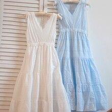 Высокое качество Новое Кружевное хлопковое платье с вышивкой Летнее Длинное белое платье до середины икры без рукавов японский стиль v-образный вырез