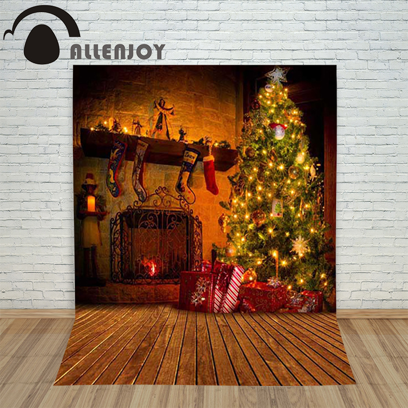 Allenjoy christmas photography New Year's backdrop Wooden fireplace gift xmas tree children's vinyl camera background festive a backdrop christmas backgrounds new year noel golden tree gift ball xmas photocall vintage fond newborns