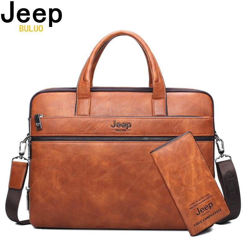 JEEP BULUO Famous Brand 2pcs Set Mens Briefcase Bags Hanbags For Men Business Fashion Messenger Bag 14 Laptop Bag 3105/8888JEEP BULUO Famous Brand 2pcs Set Mens Briefcase Bags Hanbags For Men Business Fashion Messenger Bag 14 Laptop Bag 3105/8888