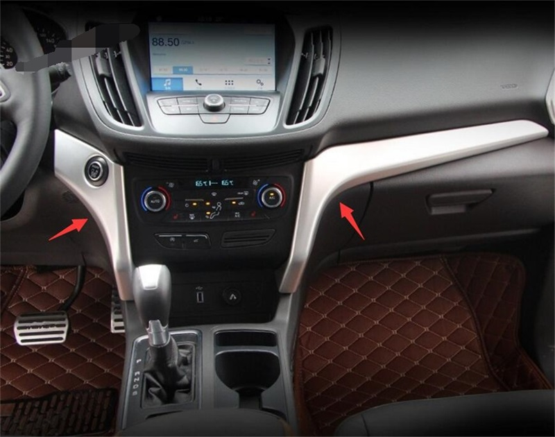 Interior Car Styling Accessories For Ford Kuga Escape 2017 2018 ABS Chrome Central Control Cover Trim Decoration Strip Sequins