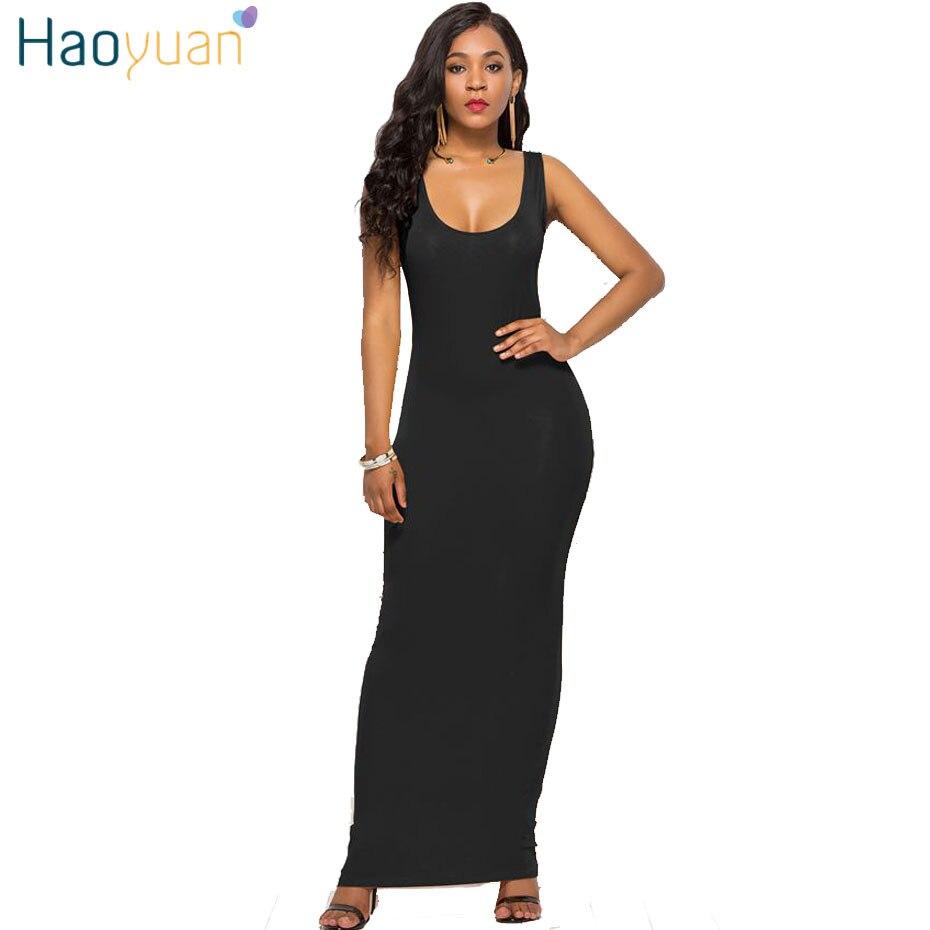 HAOYUAN плюс размер длинное платье макси женское летнее повседневное пляжное платье Бохо черное белое сексуальное вечернее облегающее вечерн...