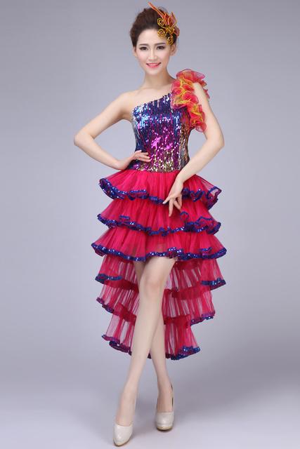 Crianças e adultos da dança moderna swallowtailed dress trajes sexy de multi-cor patchwork competição lantejoulas flores one piece-dress
