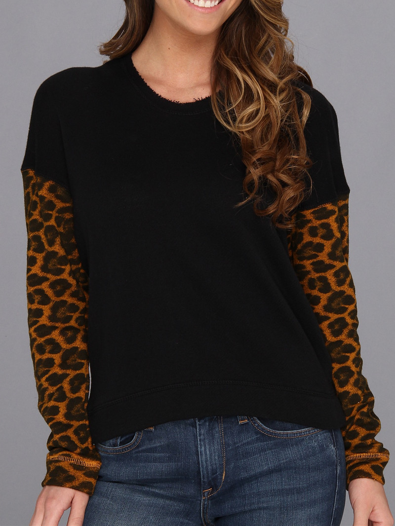 Women Leopard Print Sleeve Pullover Hoodie USA Size S,L (Loose French Terry)