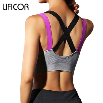 Womens Fitness Yoga Sports Bra Gym Running Padded Tank Top Athletic Vest Underwear Pro Shockproof Strappy Push Up Sport Bra Top 10