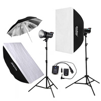 Godox 2pcs DE300 300WS Photo Studio Flashlight Strobe Lighting Kit 60x90cm Softbox 2 8M Light Stand