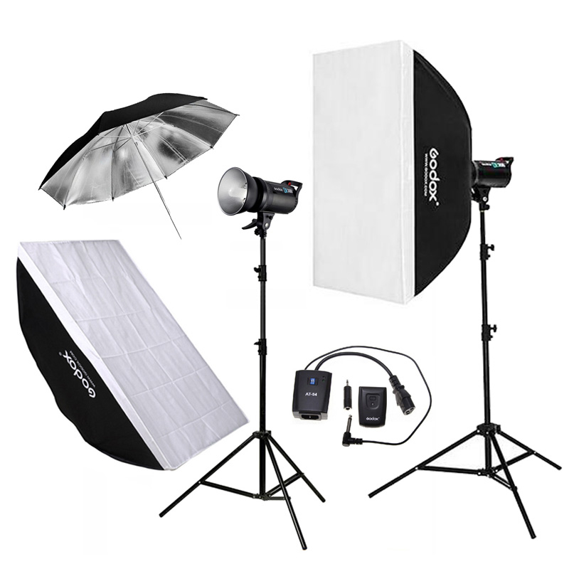 Godox 2pcs DE300 300WS Photo Studio Flashlight Strobe Lighting Kit + 60x90cm Softbox + 2.8M Light Stand + Remote Control 2pcs godox sl100y 3300k video continuous light 60x90cm softbox light stand photo studio equipment kit yellow version