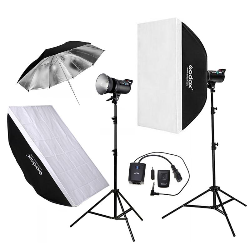 Godox 2pcs DE300 300WS Photo Studio Flashlight Strobe Lighting Kit + 60x90cm Softbox + 2.8M <font><b>Light</b></font> Stand + Remote Control