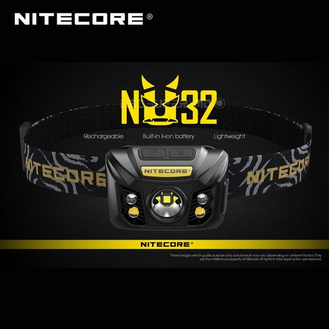 ホット販売nitecore NU32 cree XP G3 S3 led 550ルーメン高性能充電式ヘッドランプ内蔵リチウムイオン電池
