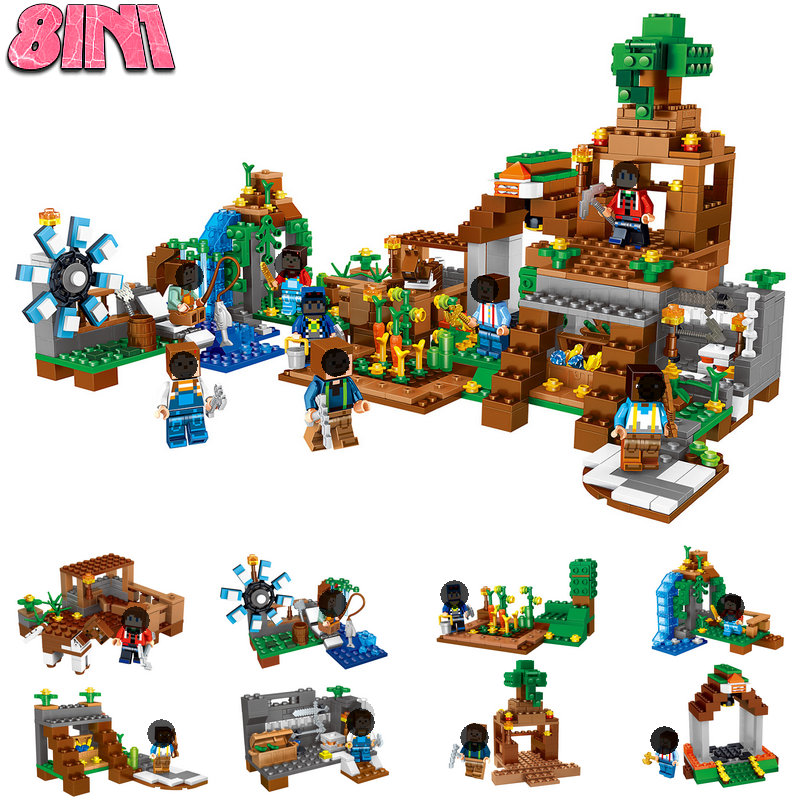 HOT Sale Minecrafted Village Windmill Water Fall Building Set Steve Alex Compatible LegoINGly DIY Construction Blocks Toys 8IN1