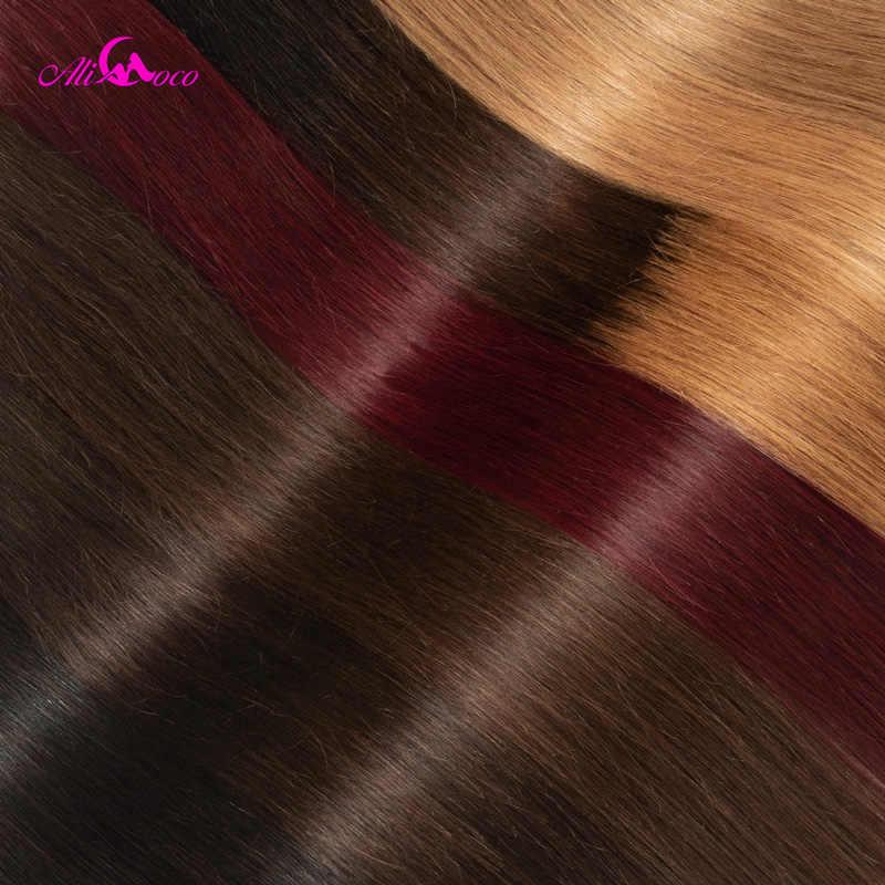 """Ali Coco Brezilyalı Düz Saç 1/3/4 Demetleri """"8-30"""" inç #2/ #4/1b/27/#27/1b/99j Olmayan Remy ombre saç 100% Insan Örgü Demetleri"""