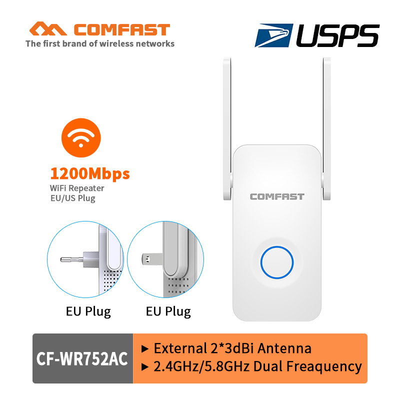 COMFAST 1200Mbps Wireless AC Wifi Repeater Router Signal Booster 5Ghz Dual Band Network 2*3dbi Antenna Range Extender Expand AP