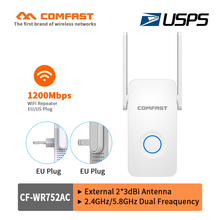 COMFAST 1200Mbps wireless AC wifi repeater router Signal Booster 5Ghz dual band network 2*3dbi Antenna Range extender Expand AP 802 11 ac 1200mbps high power enterprise gigabat wireless router through wall 2 4g 5g dual band wireless ap gateway repeater