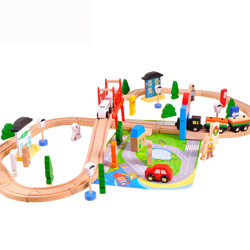 37pcs Train Set Wooden Airport 8 Types Available Wooden Train Track Pack Train Toys Early Education train brisbane
