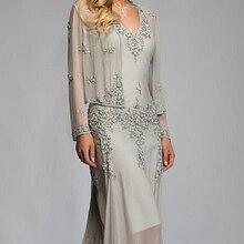 Шифоновое вечернее платье с v-образным вырезом и бусинами для матери, длинное платье с длинными рукавами, платья для матери невесты с запахом