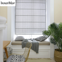 Innermor Stripe Gray roman Curtains For Living room Jacquard Roman blind curtains for kitchen bedroom Faux Linen Customized