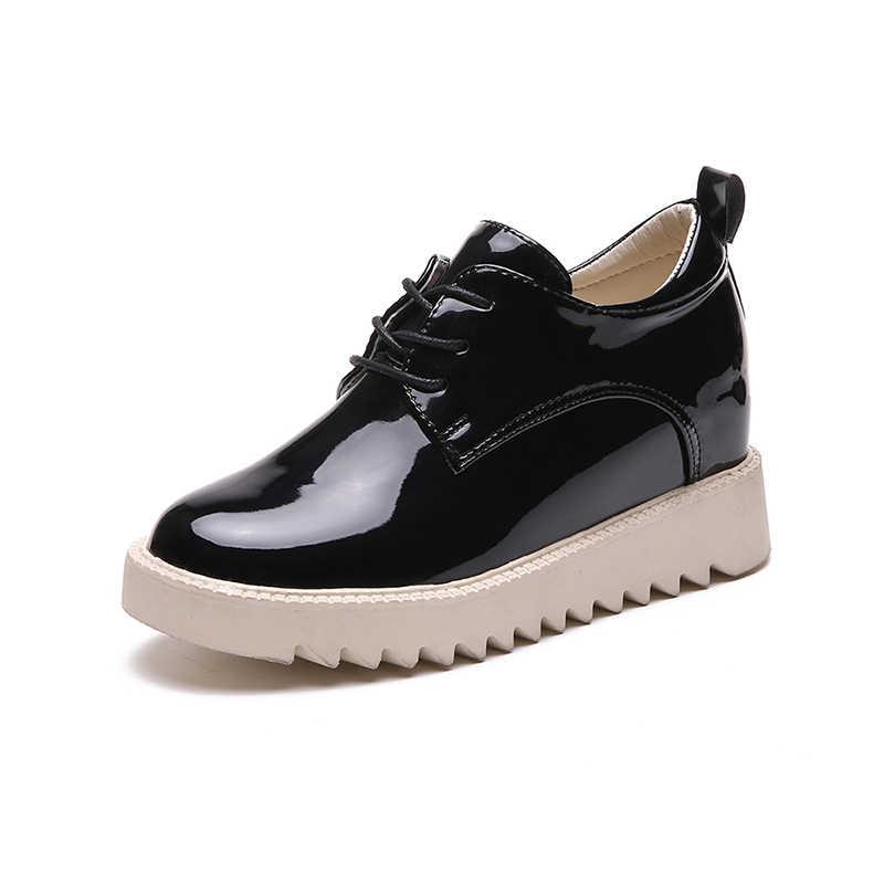 Platform dantel-up Ayak Bileği Kışlık Ayakkabılar Bayan Botları Yüksek Kaliteli Yüksekliği Artan Bayanlar Ayakkabı Aşağı moda bot